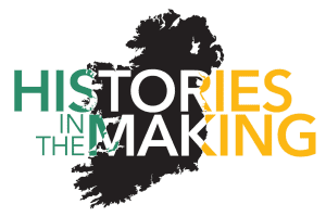 Green and yellow logo for histories in the making