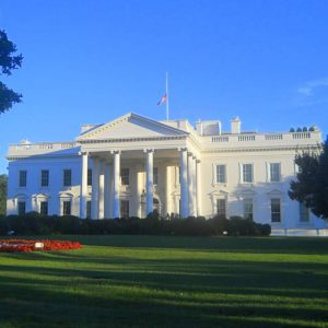 The facade and pillars of the White House in Washington DC