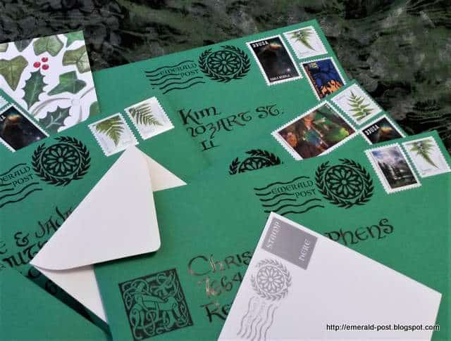 Green envelopes with stamps