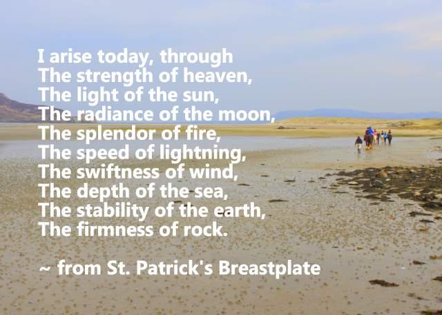 Text on an image of a sandy beach