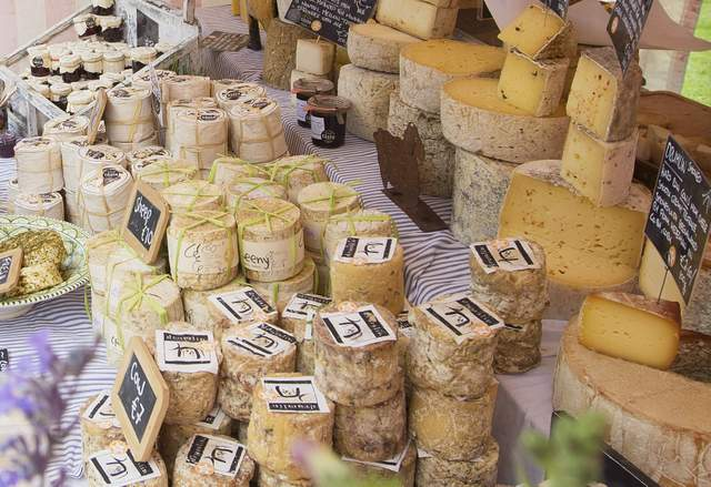A display of Irish cheeses at an outdoor food stall