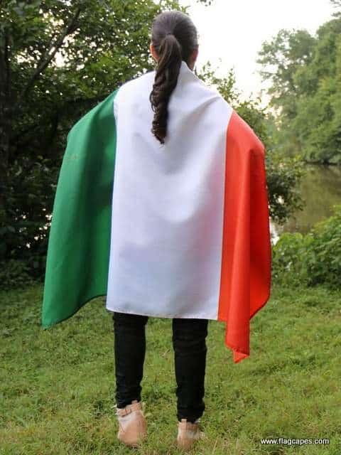 Irish flag draped over shoulders