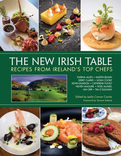 Book cover featuring food and dishes and a picture of Ireland