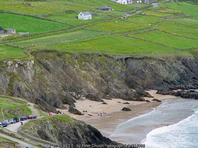 Green fields above tall sea cliffs