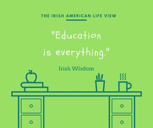 Green graphic with desk stating Education is everything