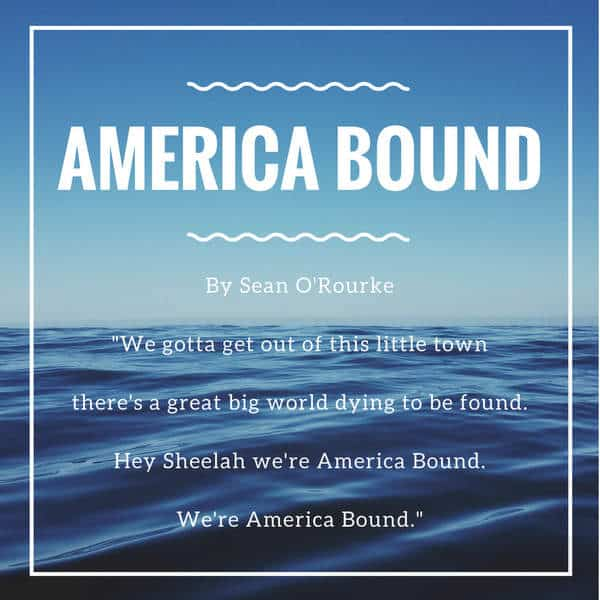 Blue wave graphic titled America Bound