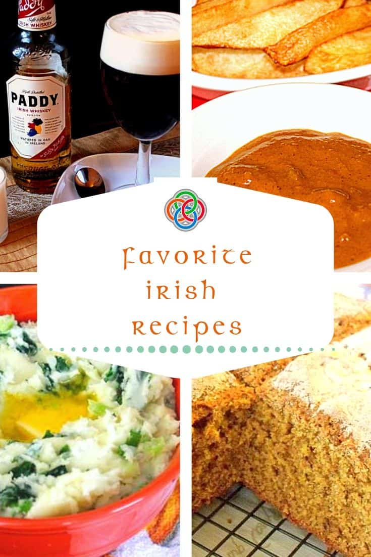 Irish food photo collage showing Irish Coffee, Curry Sauce, Colcannon and Brown Bread