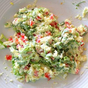 Mashed hard boild egg, green onion, lettuce, tomato and mayonnaise for egg salad sandwich filling