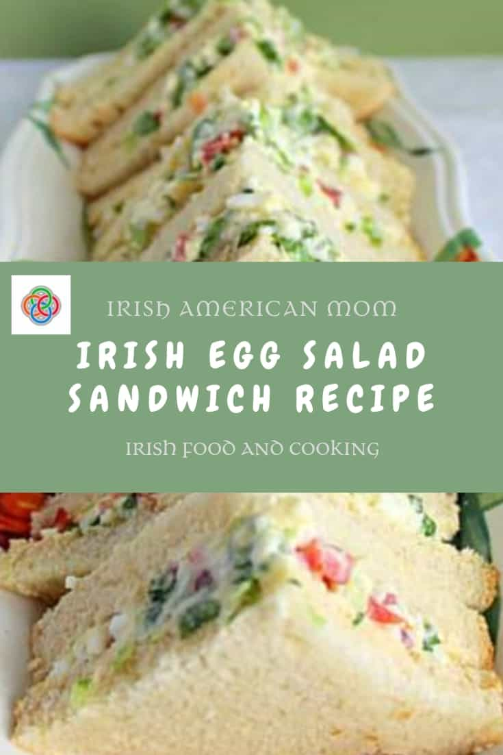 Triangular sandwiches filled with an egg and onion salad mixture from an Irish recipe.
