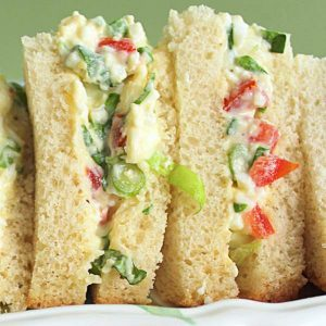 The filling in Irish salad sandwiches close up view