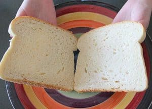 Matching bread slices opened for buttering when making a sandwich
