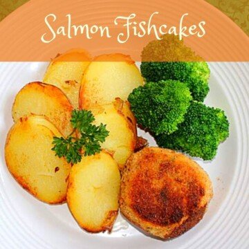 Fishcake with fried potatoes and broccoli with a text banner
