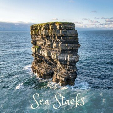 Sea stack in the ocean with text overlay