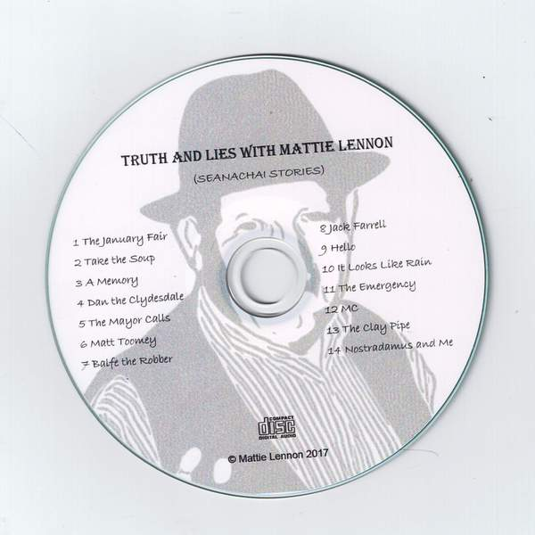 CD with the image of an Irish storyteller wearing a hat