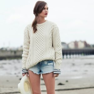 irish aran sweater in a neutral off white color