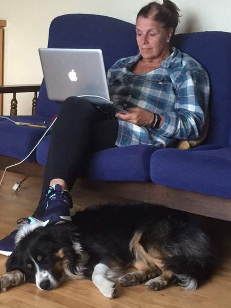 A woman sitting on a sofa with a laptop on her knee and a dog on the floor at her feet