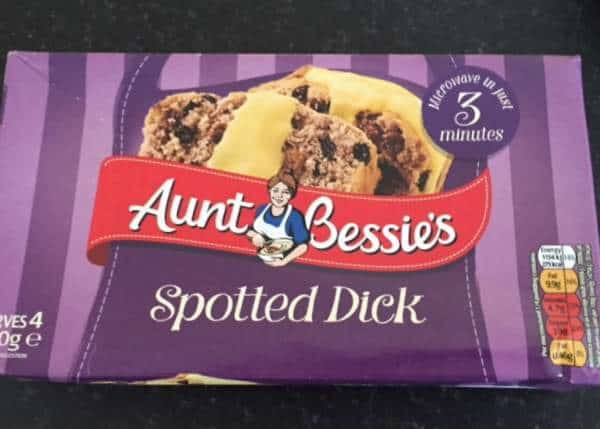 Spotted dick package with a purple background