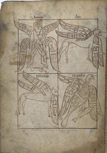Illustration of winged angels and animals from an old manuscript