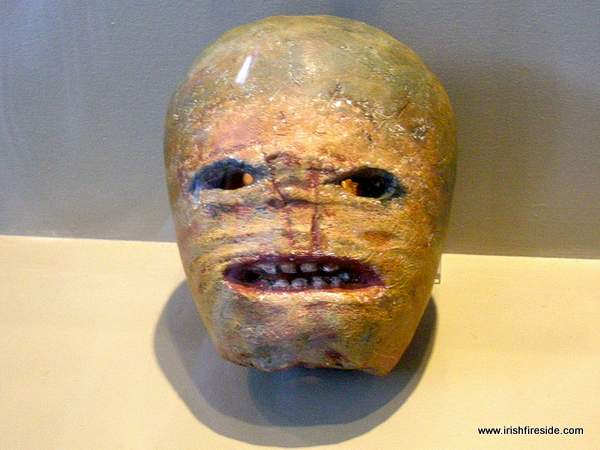 Carved turnip with a face