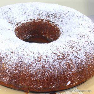 Confectioners sugar on a pumpkin bundt cake