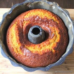 Pumpkin Cake freshly taken from the oven with a golden brown crust