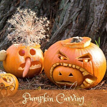 Carved pumpkins with text overlay