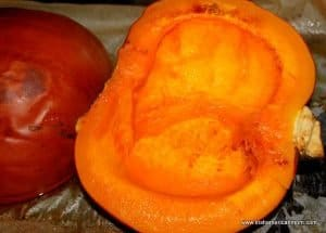 Baked or roasted pumpkin for purée on a pan out of the oven