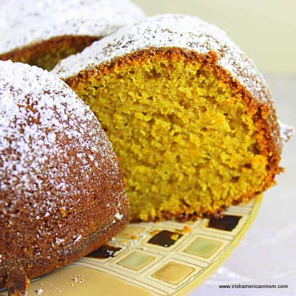 Pumpkin cake slice from a bundt style cake