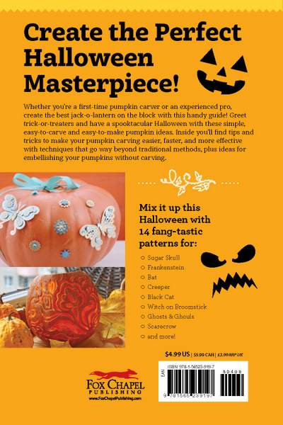 Text on an orange book page with images of decorated pumpkins