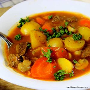 A bowl of stew with meat and vegetables