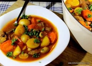 Irish Farmhouse Beef Stew with carrot and potatoes