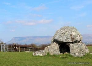 Carrowmore Dolmen with Ben Bulben in the background