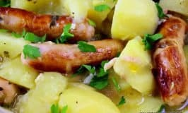 Sausage, potatoes, onion and bacon in an Irish sausage stew