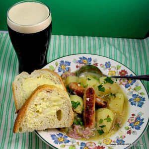 A bowl of Dublin Coddle a sausage and bacon stew