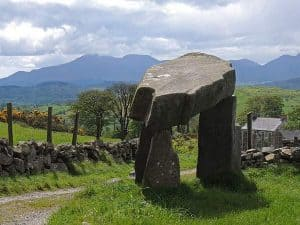 Legananny Dolmen is found in the mountains of Mourne in County Down