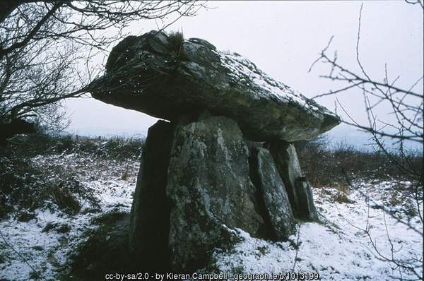 A portal tomb in a snowy landscape