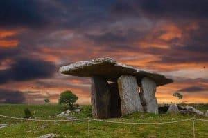 Poulnabrone dolmen with beautiful orange sky