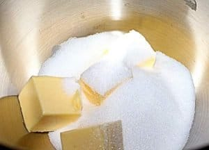 Sponge topping for Eves pudding is started by creaming butter and sugar