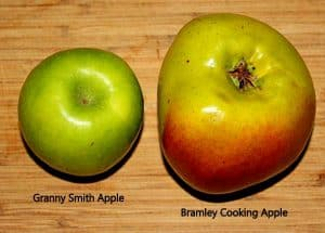Bramley cooking apple is much bigger than a Granny Smith Apple