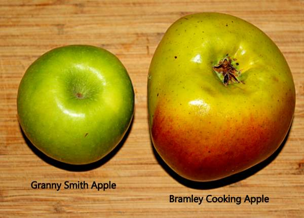A Granny Smith green apple beside a larger red and green Bramley cooking apple.