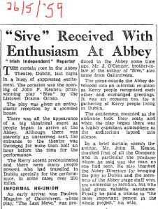 paper clipping from 1959 about Sive