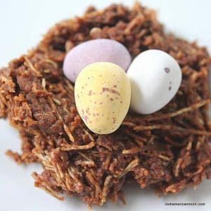 Closeup view of a chocolate Easter nest with mini eggs