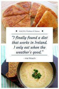 Text on a graphic with an image of boxty pancakes and a bowl of potato soup with bread