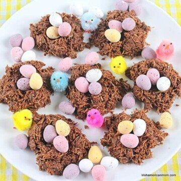 chocolate nest treats with mini eggs on a plate