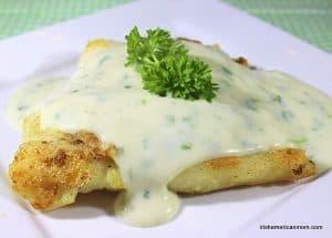 Cod dinner with parsley sauce Irish style