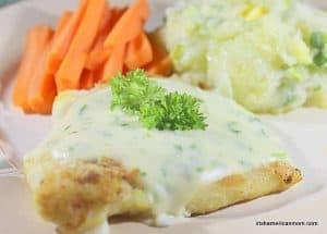 Irish cod covered in parsley sauce