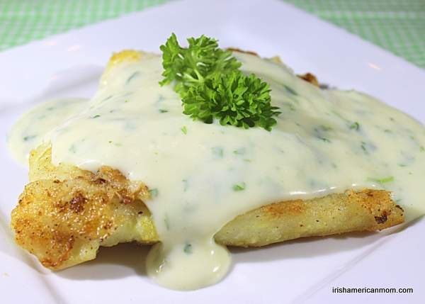 Cod dinner with parsley sauce Irish style