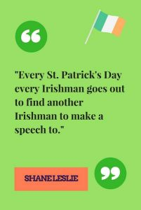 Graphic of Irish saying in green with an Irish flag