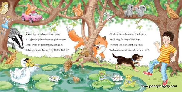 Book illustration featuring a tree, a lake, animals and text