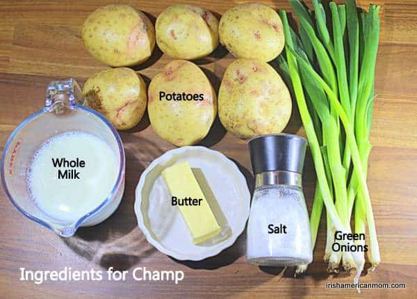 Potatoes, green onions, milk, butter and salt on a table